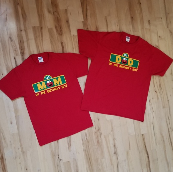 Mom And Dad Elmo Birthday Shirts